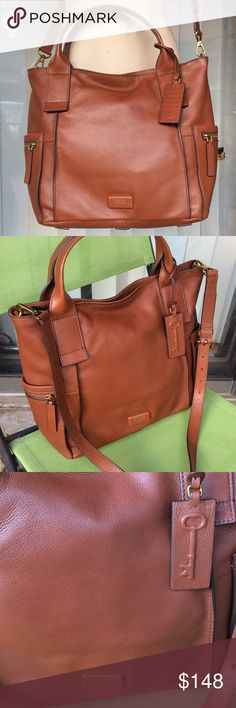 Fossil cognac leather large bag Like new,adjustable strap two pouches and one zip pockets inside Fossil Bags Crossbody Bags