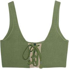 Fenty x Puma by Rihanna Lacing Long Olive Branch // Cami top with... (1.257.685 IDR) ❤ liked on Polyvore featuring tops, shirts, crop tops, bra, clothes - tops, lace-up tops, military green shirt, army green shirt, lace camis and lace up tank top
