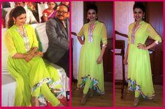 Prachi Desai looks absolutely stunning in this lime green asymmetrical anarkali by Kanika Kedia.