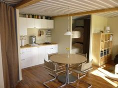 Kitchen in a shipping container home.