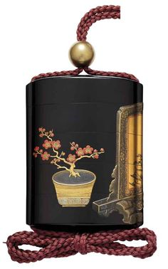 A Four-Case Lacquer Inro with a Flower Pot beside a Tsuitate [Screen] Flower Pots, Flowers, Edo Period, Tea Caddy, Japanese Beauty, 18th Century, Flask, Boxes, Asian