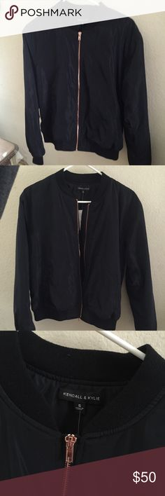Kendall and Kylie Bomber Jacket Solid black nylon bomber jacket. Rose gold colored zipper. Warm! NWT, never worn. PacSun Jackets & Coats