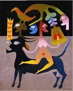 Victor Brauner - La base et le sommet (The base and the top) 1964 Oil on canvas Victor Brauner, Vision Art, Weird Creatures, Outsider Art, Thing 1, Unique Art, Surrealism, Illustration, Sculptures