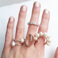 A few pieces from the online shop ❤ #rings #pearl #ring #diamond #diamondring #rutilatedquartz #gemstone #gemstonering #handmade #oneofakind #silver #gold #hand #jewelry #jewellery #onlineshop #shop #instajewel #etsy #sunshine #beautifulday #wednesday #sarahgreenfinejewellery