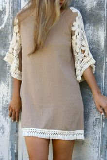 Half Sleeve Lace Patchwork Straight Dress