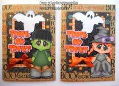 """Halloween """"Trick or Treat"""" Greeting Cards created by Paper Piecing Memories by Babs"""
