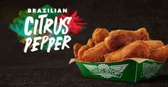 """Wingstop Brazilian Citrus Pepper Wings - According to the chain, the dry rub flavor offers an """"exotic twist"""" to their Lemon Pepper flavor with a combination of """"zesty citrus and a punch of piri piri pepper."""""""