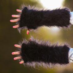 BLACK hand knitted mohair gloves fluffy fingerless hand warmers by SUPERTANYA #SuperTanya #Fingerless