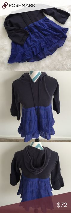 Free People Hoodie Gorgeous navy and lighter blue tiered swing hoodie. 3/4 bell sleeves. Super soft and comfy. Fits oversized and a slight high low detail. Made with 100% cotton. Bust measures 36 inches around and length measures 23.5 inches. No flaws! Free People Tops Sweatshirts & Hoodies