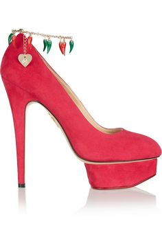 CHARLOTTE OLYMPIA Hot Dolly Suede Pumps. #charlotteolympia #shoes #pumps