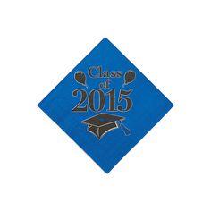 Class of 2015 Blue Beverage Napkins - OrientalTrading.com