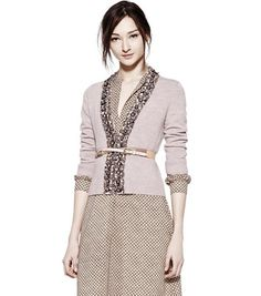 Adore this jewel embellished cardigan from Tory Burch...click through to see the details up close...beautiful.