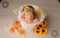 Fall Newborn Photography - Fall Newborn Session with Pumpkins and Sunflowers - Newborn Photography - Newborn Photographer - Sonia Boukaia - El Paso Photographer Fall Newborn Pictures, Fall Baby Pictures, Baby Girl Photos, Fall Newborn Photography, Newborn Photographer, Foto Newborn, Newborn Session, Book Bebe, Baby In Pumpkin