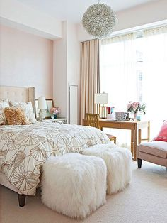 """""""Have a Blast"""" I like the furniture placement as well as some of the elements (bedding, textures, desk in front of window)."""