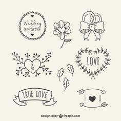 Hand gezeichnet floralen Elementen für die Hochzeit Kostenlose Vektoren