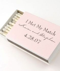 Customized matchbooks to give to your guests as favors