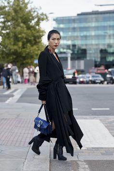 Black Silk Shirtdress - The Most Inspiring Street Style at London Fashion Week - Photos
