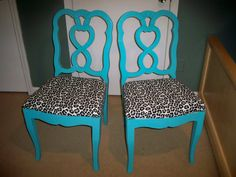 Rockabilly Turquoise Leopard Chair By On Etsy