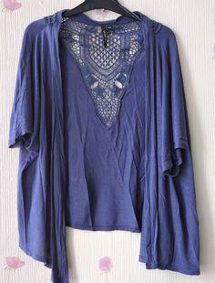 Intuition Crochet Waterfall Shrug Kimono Top Cardigan Navy M/L 14 16 18 20 22 24