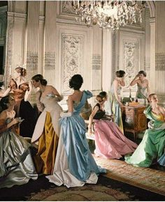 A Cecil Beaton photo of models in Charles James gowns for Vogue, 1948