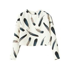 Feathers/Ink Splash Print Cropped Sweatshirt (201.035 IDR) ❤ liked on Polyvore