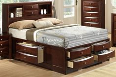 Crown Mark Furniture Emily Captain's Queen Bed in Rich Cherry #CrownMark