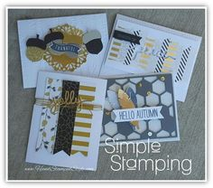 Simple Stamping Class feating ALL Year Cheer, Christmas Greeetings, Acorny Thank you and lots of gold!