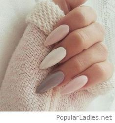 Matte long nails on pink, grey and white