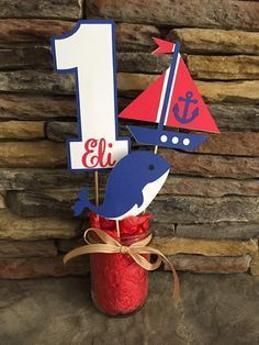 Nautical Themed Centerpiece Happy Birthday Decor First Birthday Anchor Ship Boat…