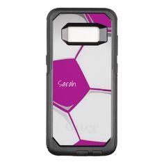 Pink Soccer Ball Design Otter Box OtterBox Commuter Samsung Galaxy S8 Case