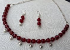 Garnet Faceted Beads With Dangling Silver by BeriMadeJewelry, $17.50
