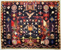 ORIGINAL DESIGN QUILT by Carl Klewicke (1835–1913), Corning, New York, c. 1907, pieced silk, faille, taffeta, and satin, 72 1/2 x 60 in., American Folk Art Museum purchase, 2012...