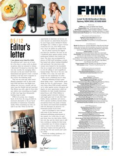 The use of different columns helps to give the editor a chance to personally describe the magazine, but also gives room to place other staff or people involved with the magazine. The header image gives a small preview of possible content or topics of the magazine, while relating the page to the editor.
