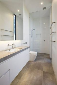 Small bathroom ideas and small bathroom designs for both city and country homes. From small bathroom designs using tile and wallpaper, to help decide on a small bathroom layout. Long Narrow Bathroom, Modern Small Bathrooms, Bathroom Layout, Modern Bathroom Design, Bathroom Interior Design, Bathroom Ideas, Bathroom Designs, Master Bathrooms, Bathroom Organization