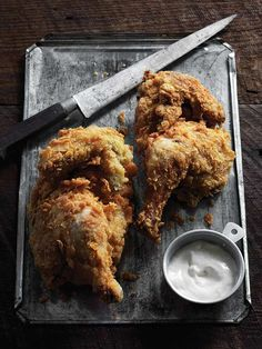 Cornmeal-Crusted Fried Chicken with White Barbecue Sauce Recipe ~Think I'll pass on white BBQ sauce!! Can't imagine how you can really call it BBQ Sauce..