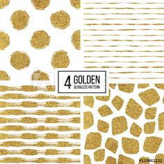 Set of seamless pattern of gold stripes or strokes, polka dots, mosaic spots, seamless texture golden lines, circle, point, stroke, hand drawn vector pattern for paper, card, invitation, wedding, web
