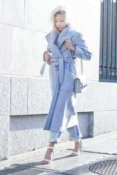Vanessa Hong from The Haute Pursuit, baby blue Theyskens Theory coat, blonde asian Blue Fashion, Daily Fashion, Winter Fashion, Girl Fashion, Fashion Outfits, Fashion Story, Denim Fashion, Fashion Women, Fashion Trends