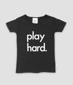 Nor-folk Black Play Hard Tee: The ultimate minimal monochrome tee for those kids who love play time. Each garment is screen printed by hand in the UK.