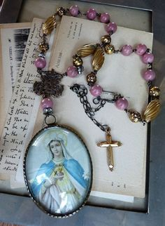 Antique Virgin Mary Reliquary Necklace, Our Lady Victory, by RusticGypsyCreations. $248.00, via Etsy.