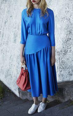 Silk Pleated Midi Dress by Alena Akhmadullina for Preorder on Moda Operandi