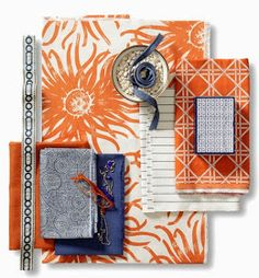 Orange Zest fabric collection from Calico Corners. Love the Orange and blue color combination Calico Corners Fabric, Moodboard Interior, Material Board, Fabric Combinations, Passementerie, Colour Board, Color Stories, Fabric Wallpaper, Fabric Swatches