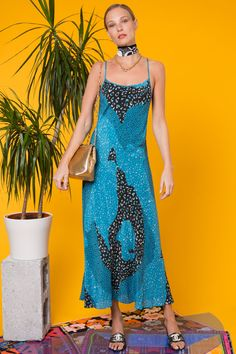 Check Out the Sylvie Teal Patchwork Leopard, Silk No Split Midaxi Dress. Shop Now at RIXO, Get Off Your First Order! Dramatic Look, Mixing Prints, White Tees, Fashion Prints, Dress Up, Teal, Silk, Patchwork Dress, Model