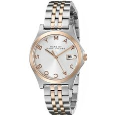 Marc by Marc Jacobs Women's MBM3353 Slim Two-Tone Stainless Steel... ($150) ❤ liked on Polyvore featuring jewelry, watches, stainless steel bracelet, hinged bracelet, marc by marc jacobs bracelet, stainless steel watches and bracelet watches