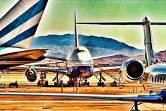 Airplanes parked at Las Vegas McCarran International Airport.
