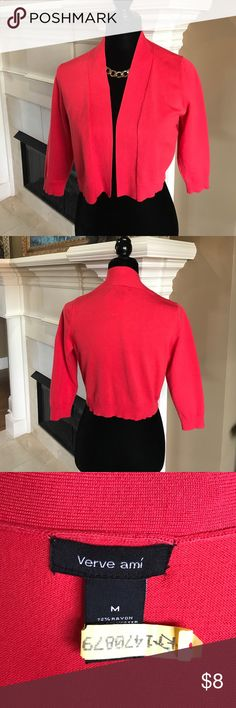 Coral Red Shrug size Medium Coral Red not a true Red. Great to wear over sleeveless dresses or tanks. Only worn a few times with a lot of life left. I have two so letting go of one of them. Verve ami Sweaters Shrugs & Ponchos