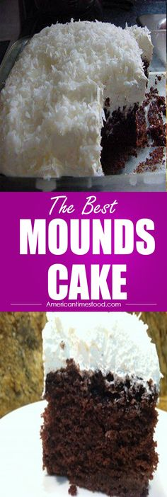 MOUNDS CAKE Ingredients: 1 cake mix ( white or yellow cake mix ) ½ cup cocoa ½ cup sugar 2 cups chocolate chips 1 cup chocolate syrup 8 oz. Köstliche Desserts, Delicious Desserts, Yummy Food, Easy Delicious Recipes, Simple Recipes, Food Cakes, Cupcake Cakes, Cupcakes, Cake Recipes