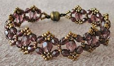 Linda's Crafty Inspirations: Bracelet of the Day: Crystal Picot - Amethyst