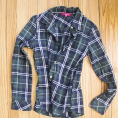 Plaid Shirt, Never Worn Never worn plaid shirt. Cotton, polyester. Bust 84cm Shoulder 37cm  Sleeve 58cm Length 60cm Tops Button Down Shirts