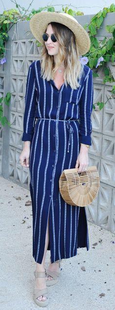 Beach Hat & Navy Striped Maxi Dress & Wood Clutch
