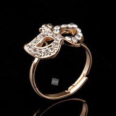 Women Fashion Ring Ladies Girls Rhinestones Mask Design Finger Ring Jewellery